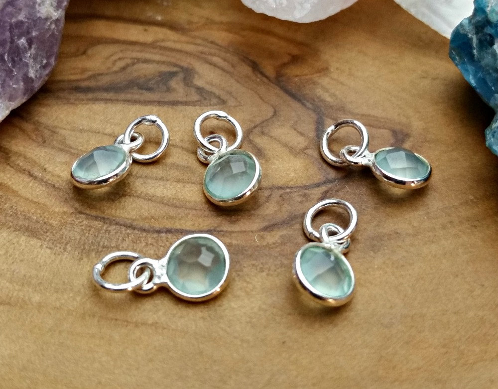 Gemstone Bezel Charms 6mm  - Dangle Charms, Labradorite, Moonstone, Citrine, Quartz, Chalcedony, Peridot