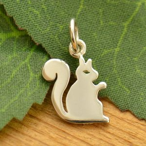 Sterling Silver Flat Plate Squirrel Charm - C1658, Nature, Animal Charms, Pets