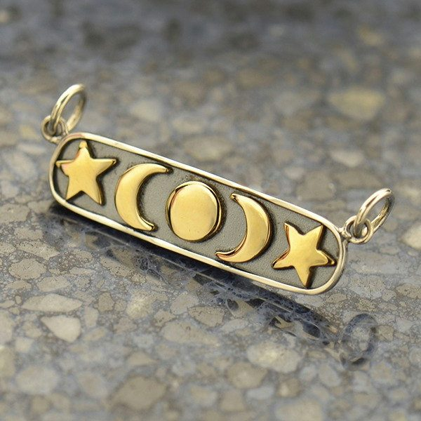 Sterling Silver and Bronze Moon, Star and Sun Festoon - C3160, Celestial Charms