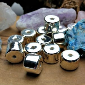Greek Mykono's 9x13mm Drum Beads, 99.9% Fine Silver, Ceramic Fired in a Kiln