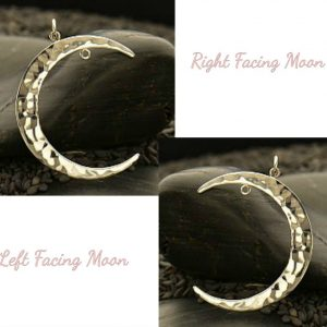 Silver Moon Pendant - Left or Right Facing with Fixed Jump Ring, Celestial Collection
