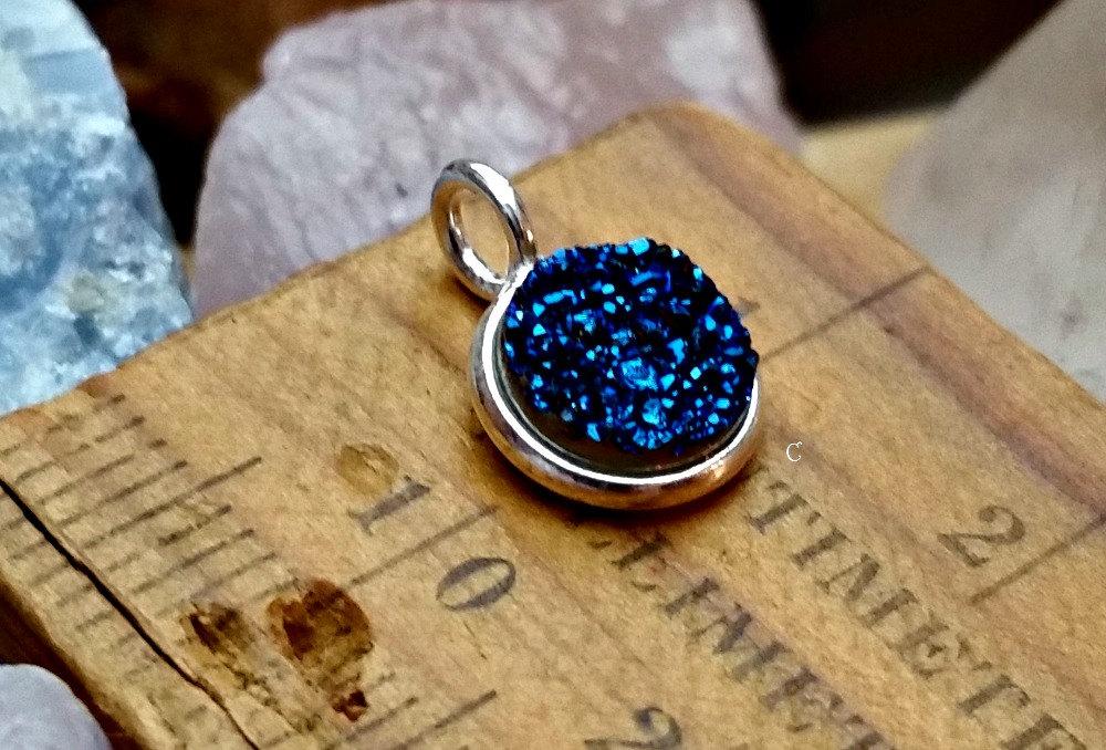 Druzy Drusy Charm Blue 8mm Round Sterling Silver Bezel