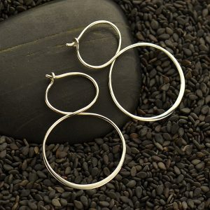 Sterling Silver Hoop Earrings - Infinity Hoops - C3125 - Findings, Hoop Style