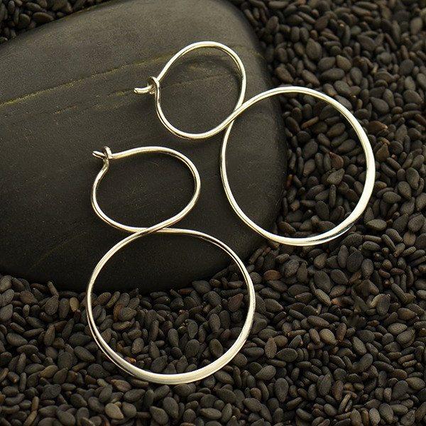 Sterling Silver Hoop Earrings - Infinity Hoops - C3125 - Findings, Hoop Style