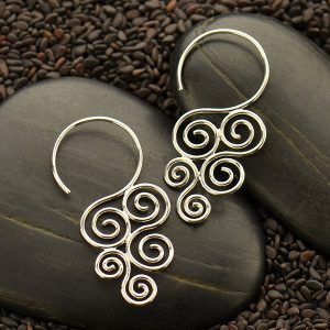 Sterling Silver Cascading Swirl Hook Earrings - C3045 - Findings, Hoop Style