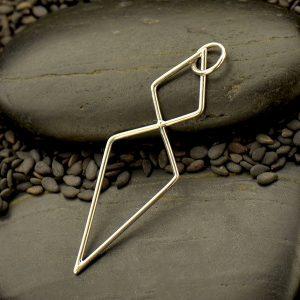Silver Geometric Double Diamond Link - C3174, Connector Links, Earring Components, Bracelet Designs