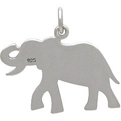 Sterling Silver Decorated Elephant Charm - C1830, Etched Elephant  - Animal Charms, Strength, Good Luck