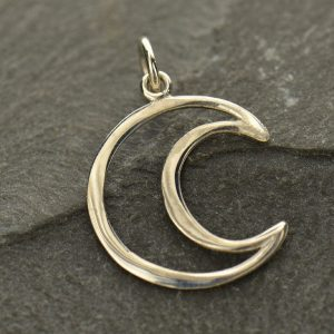 Wire Crescent Moon Charm Sterling Silver  - C2782, Celestial Charms, Stamping, Blank Charms