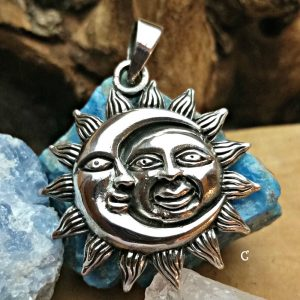 Sterling Silver Moon & Sun Pendant - Celestial Collection
