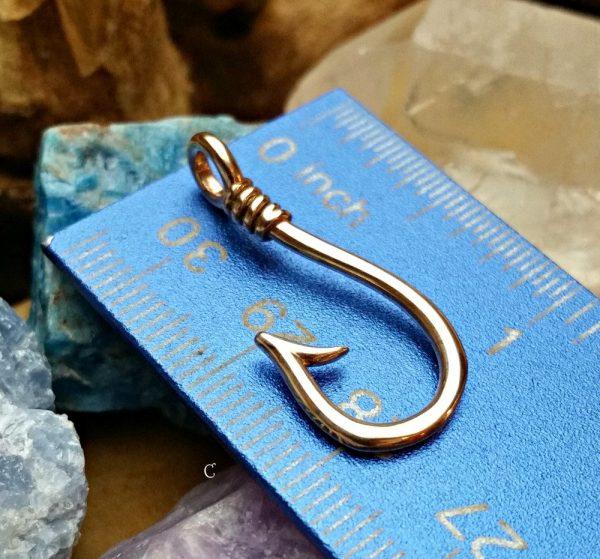 Barbed Fish Hook Charm Bronze - CB5817, Spiritual, Sportsman