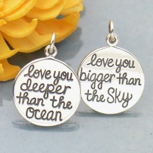 Silver Message Pendant - Love You Bigger Than the Sky - C1866, Quote Charms, Stamped Charm