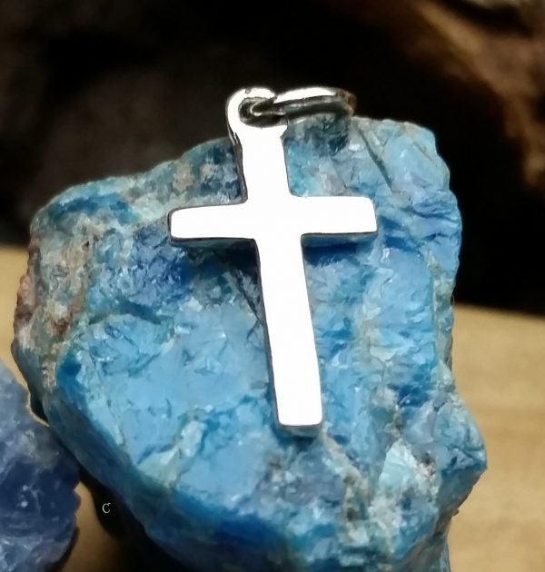 Sterling Silver High Polish Classic Cross Pendant - Christ, Faith, Love, Blessed
