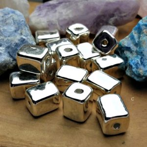 Greek Mykono's 8x10mm Rectangle Beads, 99.9% Fine Silver, Ceramic Fired in a Kiln