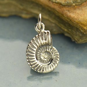 Sterling Silver Nautilus Shell Charm - C586, Sealife, Ocean, Beach, Sea Shell