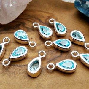 AquamarineTeardrop Bezel Charms - Listed Price (1 Charm)