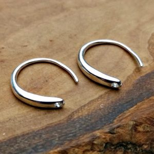 Flattened-Front Ear Wire with Hole - Earring Findings, Sterling Silver