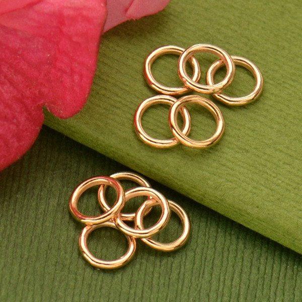Rose Gold Jumpring - 7mm Soldered in 18K Rose Gold Plate SOLD IN PACKS 10.