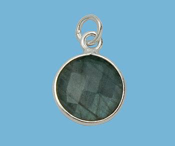 Labradorite Round 11mm Bezel Charms - Gemstone Dangles