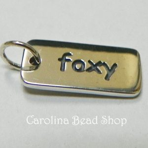 foxy word charm sterling silver - C792, CLOSEOUT SALE, Stamped Charms