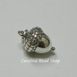 Sterling Silver Acorn Charm - C626, Trees, Woodlands, Autumn, Good Luck, Success