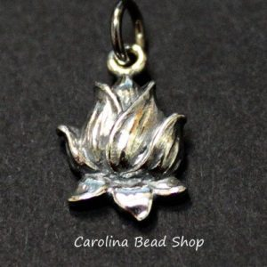 Sterling Silver Textured Lotus Blossom Charm - C952