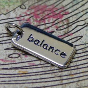 balance - Sterling Silver Word Tag - Stamping, Charm, Pendant, Words