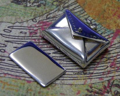 Envelope Locket Pendant -C2676, Sterling Silver, Locket, Love, Family, Bonding