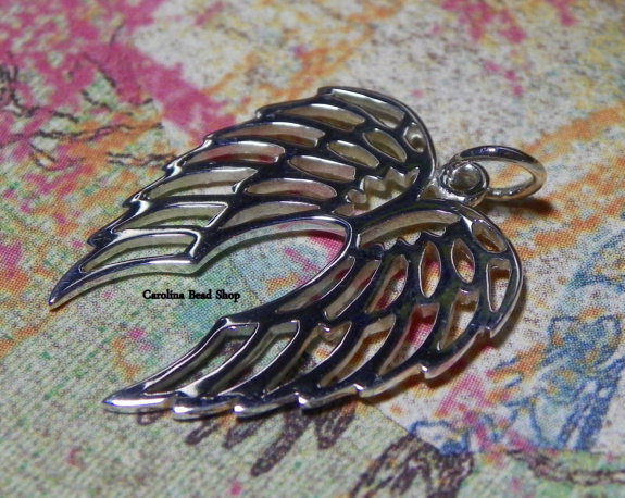 Openwork Sterling Silver Double Angel Wing Charm - Soar, Courage, Love, Compassion
