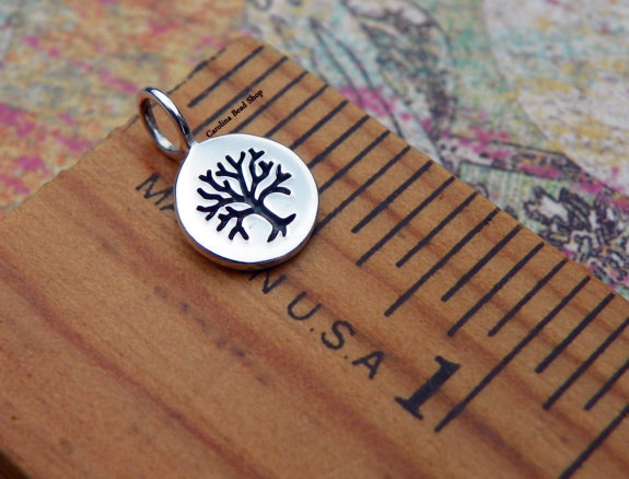 Tiny Charm with Etched Tree -Woodlands, C1148, Choose From Sterling Silver, Bronze, Gold Plated, Silver Plated