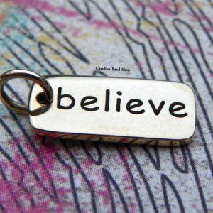 Believe -Bronze Word Tag -Stamped Word Charms, Name Charms, Word, Pendant