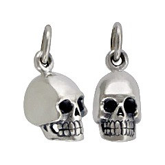 Tiny Skull Sterling Silver Charm - C969, Day of the Dead, Spiritual Awakening
