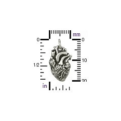 Anatomical Heart Charm -  C1164, Choose from Sterling Silver, Gold Plated, Natural Bronze, Lifelike Heart, Love, Human Organ, Vascular