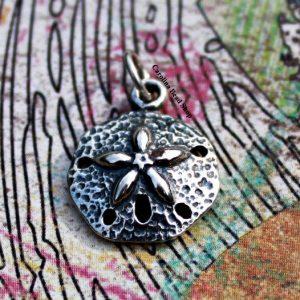 Sterling Silver Sand Dollar Charm -Nautical Charms, Ocean, Sealife, SeaShells