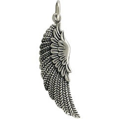 Ribbed Angel Wing Large Sterling Silver - C621, Feather, Angel Wing, Bird Wing, Wing Pendant