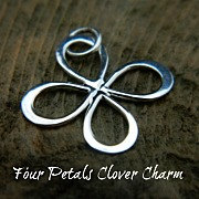 Clover Charms - Four Petals Clover Charm Large - C2784, CG2784, Choose From Sterling Silver or Gold Plated, Good Luck Charms