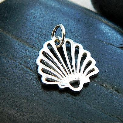 Small Shell Charm - C1183, Sterling Silver, Nautical, Beach, Ocean, Sealife
