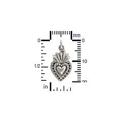 BLACK FRIDAY SPECIAL - Silver Plated Bronze Sacred Heart Charm. Sacred Heart Charm - V1076