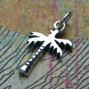 Sterling Silver Palm Tree Charm -  Trees, Sealife, Nautical, CS3570, Large Quantity Disc