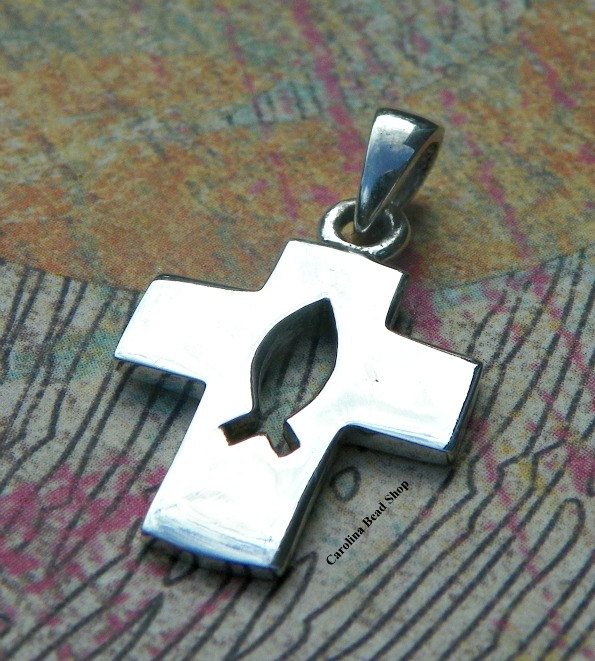 Cross Pendant Sterling Silver - Icthus Cut-Out Center