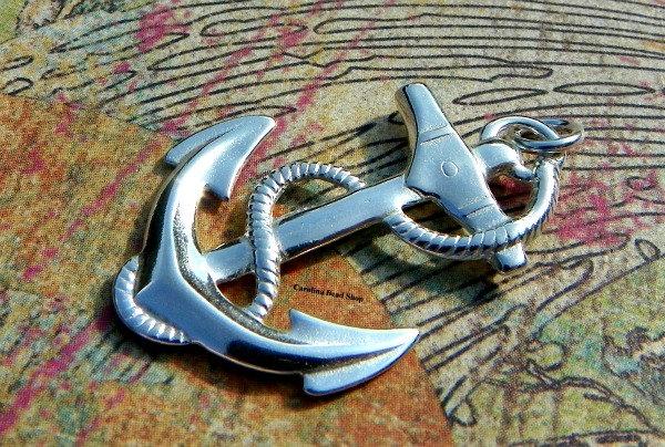Sterling Silver Large Anchor Pendant - Nautical, Ocean, Water, Beach, Faith, Religion