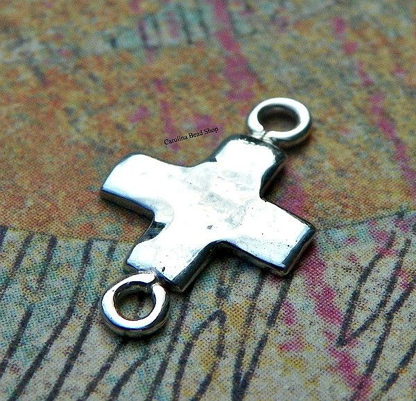 Sterling Silver Hammer Finish Cross Link - C2817,  Religion, Salvation, Christ, Blessed, Connector Links, Sideways Charms