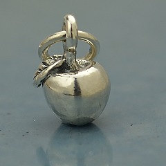 Apple Charm Tiny Sterling Silver - C1226, Fruits, Vegetables, Gift for Teacher
