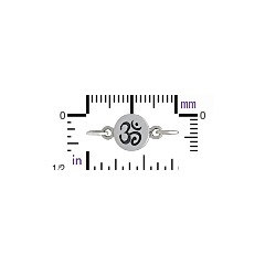 Sterling Silver Ohm Disc Link - C1267, Connector Links, Spiritual Charms, Links
