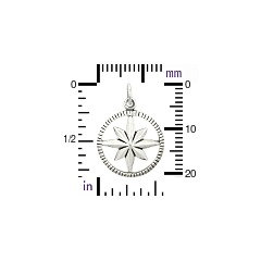 Starburst Compass Small Sterling Silver Charm - C1367, Nautical Charms