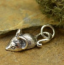 Sterling Silver Mouse Charm -  C1245, Animal Charms, Pet Charms