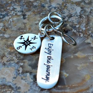 The Journey Pendant  - Compass, Word Charm, Infinity Link, Stamped Charms, Travel