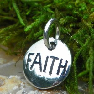Faith -Sterling Silver Word Charm - Stamped Charms, Religion, Love, Heaven, C74112