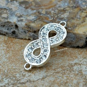 Silver Plated CZ Infinity Link - Connectors - BULK DISCOUNT - 10pk, 25pk, Figure 8 Charm, Love, Sideways Charms, Link