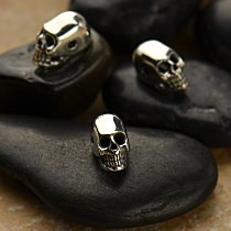 Skulls - Mini Sterling Silver Skull Bead - C1294, 2 Hole Skull Bead - Bones and Skulls