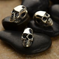 Sterling Silver Skull Bead with Large Hole - 2 Hole Skull Bead - Bones and Skulls